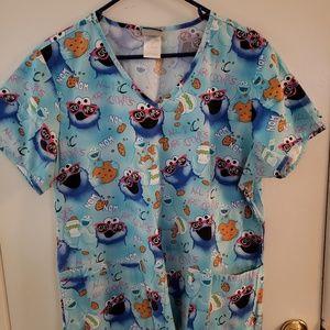 Women's Sesame Street Scrub Top